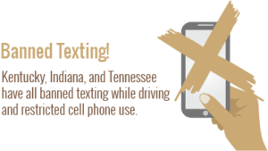Banned Texting! Kentucky, Indiana and Tennesee have banned texting while driving and restricted cell phone use.