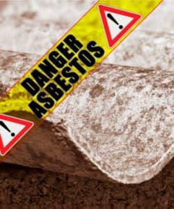 """""""danger asbestos"""" warning sign"""