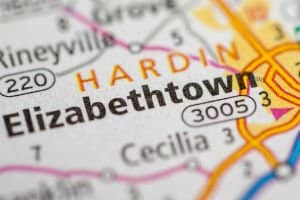 image of road map showing elizabethtown
