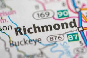 image of richmond kentucky on a road map