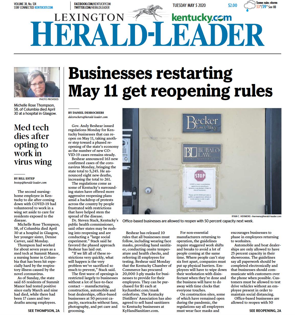 Lexington Herald-Leader Becker Law Article